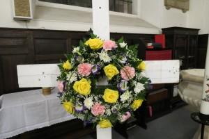 easter wreath on cross
